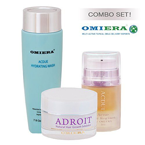 Omiera Acdue Acne Scars Dark Spots Removal Cream (1.0 FL. oz.)+ Adroit Natural Ingrown Hair Growth Inhibitor (1.0 FL. oz.)+ Face Wash Cleanser(7.0 FL. oz.)Beauty Set