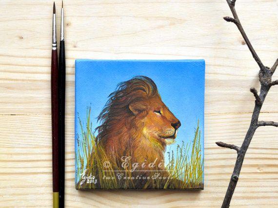 Leone nella savana Mini dipinto ad olio Quadro 10x10 cm in