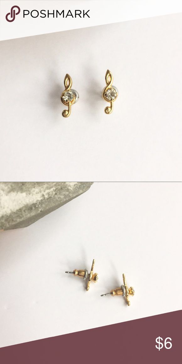 🆓 Gold Treble Clef Stud Earrings It's all in the details- great quality musical gold studs with a little crystal (fake) in the center. ***FREE WITH CLOTHING PURCHASE OF $15 OR MORE*** 🆓💸 Jewelry Earrings