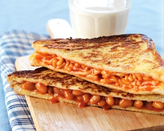 This is a grilled cheese sandwich with a canned food item of your choice put in it. Anything from Chef Boyardee will do.... or not, as the case may be....
