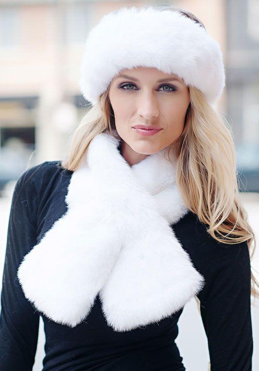 White Mink Pull-Through Faux Fur Scarf