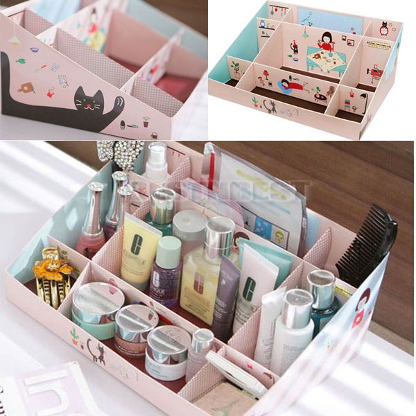 Hot Applied DIY Paper Stationery Cosmetics Makeup Storage Box Stuff Organizer