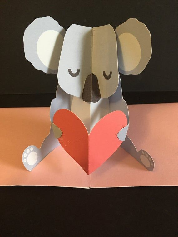 Pop Up 3d Koala Mothers Day Greeting Card Birthday Card Etsy In 2021 Pop Up Valentine Cards Valentines Cards Valentine Greeting Cards