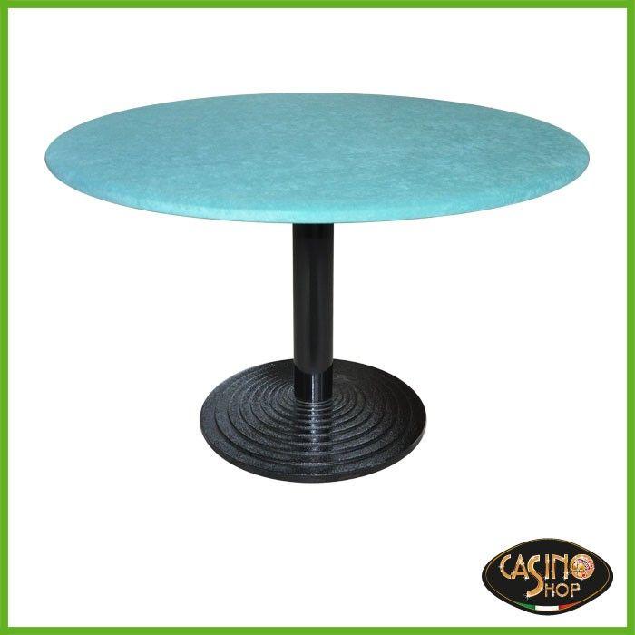 ART.0097  Tavolo caratterizzato dalla forma circolare e dalla base in ghisa.  Top formato da un elegante panno in microfibra, antimacchia, colore verde. Dimensioni: diametro 120 cm.