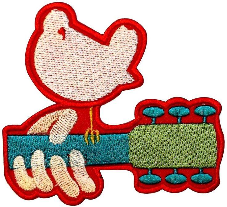 Dove Guitar 1969 Woodstock Logo Peace Music Art Festival Iron On Applique Patch