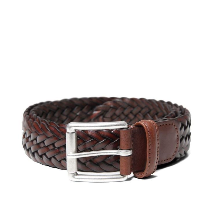 Anderson's Woven Leather Belt (Mahogany)