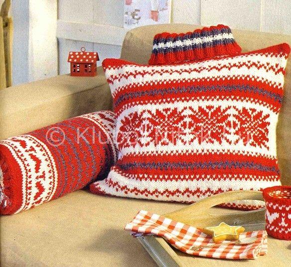 Жаккардовые подушки | Вязание спицами | Вязание спицами и крючком. Схемы вязания.