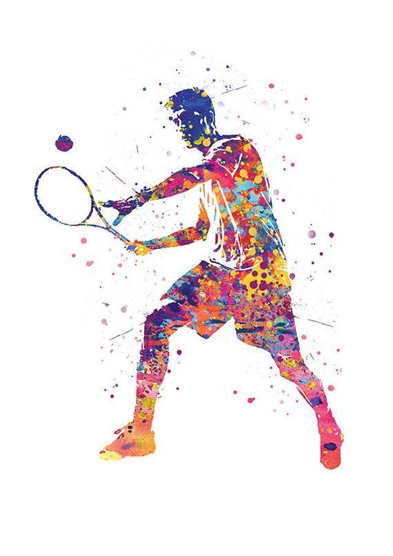 Tennis Print Art Print Sport Tennis Player Poster Wall Decoration Fine Art Paper Birthday Gift Father S Day Tennis Posters Tennis Art Sports Art