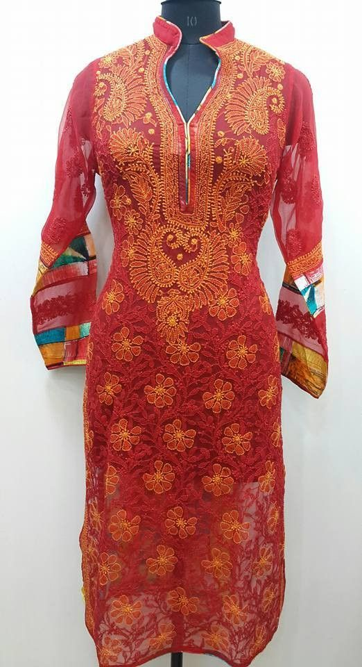 f4393772a2 Lucknow Chikan Exclusif Sarabsons Shop No 101, Naveen Market, Kanpur.  Lucknowi Chikankari Hand Embroidered Kurti Red Faux Geor…