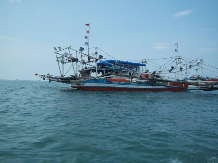 fisherman boat in Pantai Gandoriah, pariaman, west sumatra