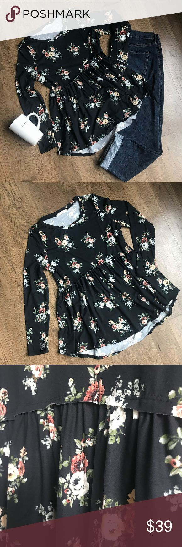 "NEW! Black Floral High/Low Long Sleeve Top New arrival! Floral print baby doll style top with a high/low hemline. Super soft, non-sheer, knit, lightweight. It is 98% polyester, 2% spandex, so it is flowy and there is some give!  Measurements: Length for all: Front ~28"" Back ~32"" Small (~2-4): Shoulders- ~14.5"", Bust- ~19"", Waist- ~19"", Hips- ~29"" Medium (~6-8): Shoulders- ~15.5"", Bust- ~20"", Waist- ~20"", Hips- ~30"" Large (~10-12): Shoulders- ~15.5"", Bust- ~20.5"", Waist- ~20.5"", Hips- ~31""…"