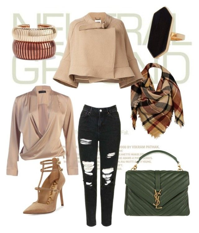 #neutrals by elenazaharia on Polyvore featuring polyvore, fashion, style, Chloé, Topshop, Sam Edelman, Yves Saint Laurent, Rosantica, Jaeger, Sylvia Alexander and clothing