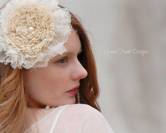 Lace Hair Flower Rustic Chic Wedding от GreenTrunkDesigns на Etsy