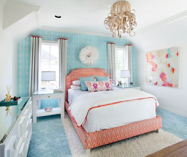 Tracy hardenburg designs girl 39 s rooms worlds away - Orange and light blue bedroom ...