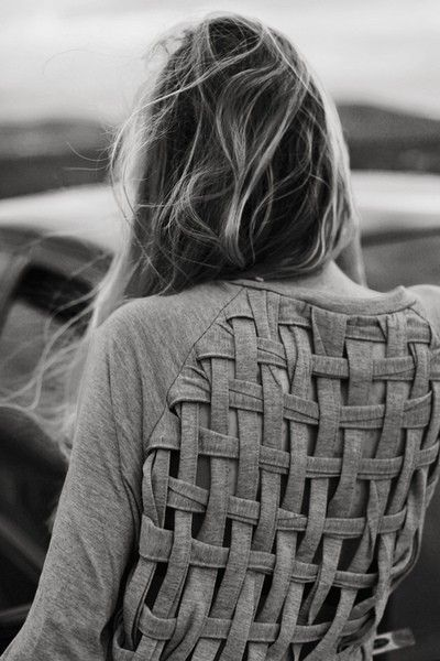Do it YOURSELF!! Cut and reweave the back of a shirt