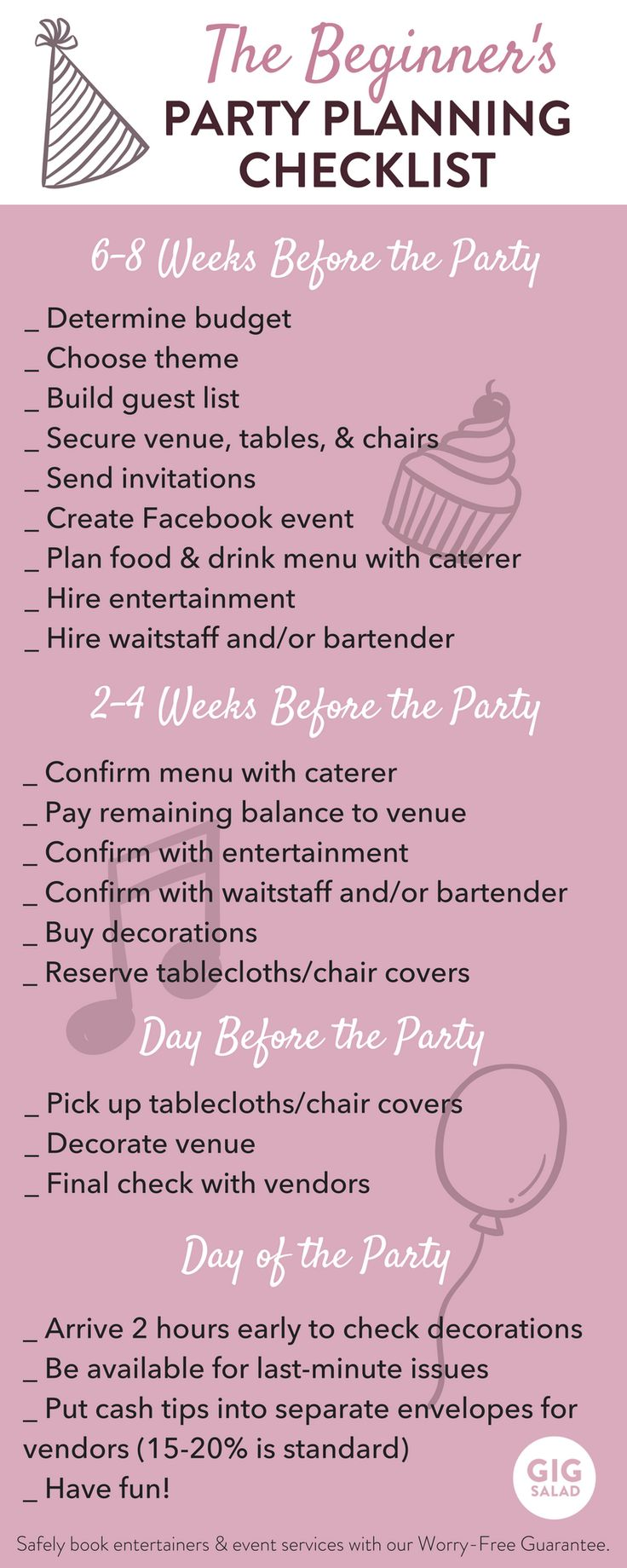 baby shower party planning checklist