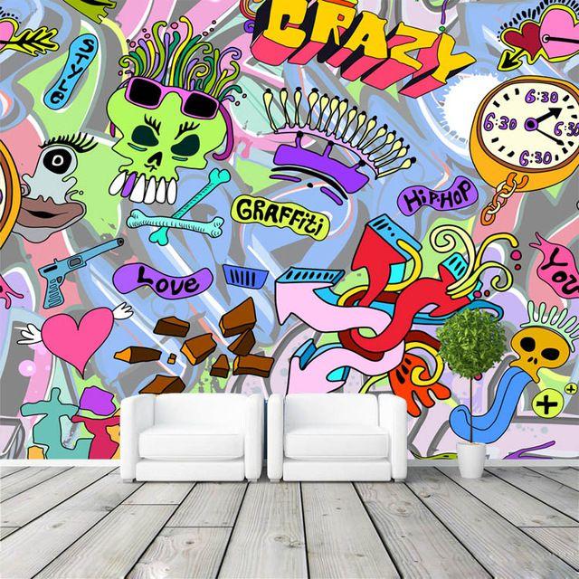 3D Wallpaper Graffiti Boys Urban Art photo wallpaper Custom Wall Mural Street Art Room decor Kids Bedroom Hallway Sitting room