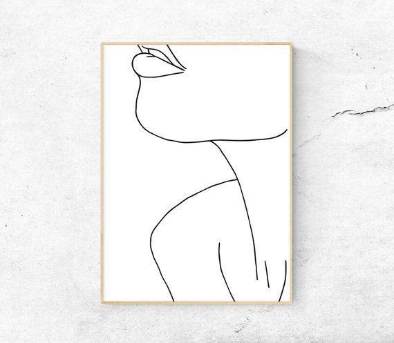 Weißes, abstraktes weibliches Gesicht, Hals, Körper bedruckbare Kunst, minimalistischer Druck, moderne Kunst, Strichzeichnungen, Wohnkultur, digitale Kunst, Frauenillustration