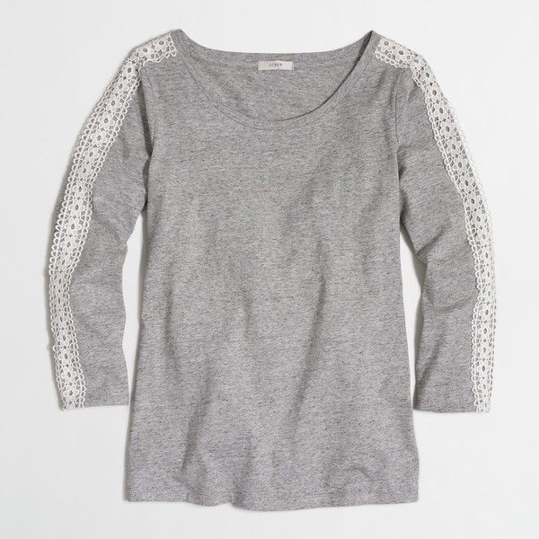 J.Crew Factory lace-trim long-sleeve T-shirt ($28) ❤ liked on Polyvore featuring tops, t-shirts, lace trim top, j.crew, long sleeve tops, j crew tee and longsleeve tee