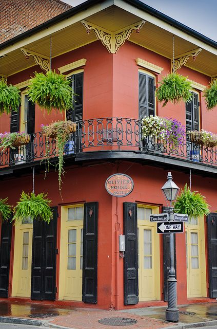 NOLA.....Olivier House Hotel, a half block from Bourbon Street, corner of Toulouse and Dauphine.