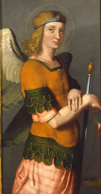 """""""So stand fast with your loins girded in truth, clothed with righteousness as a breastplate, and your feet shod in readiness for the gospel of peace."""" Ephesians 6:14-15 // Saint Michael Archangel / San Miguel Arcángel //1550-1560 // Giovanni Battista Moroni // Museo Poldi Pezzoli // #sword #courage"""