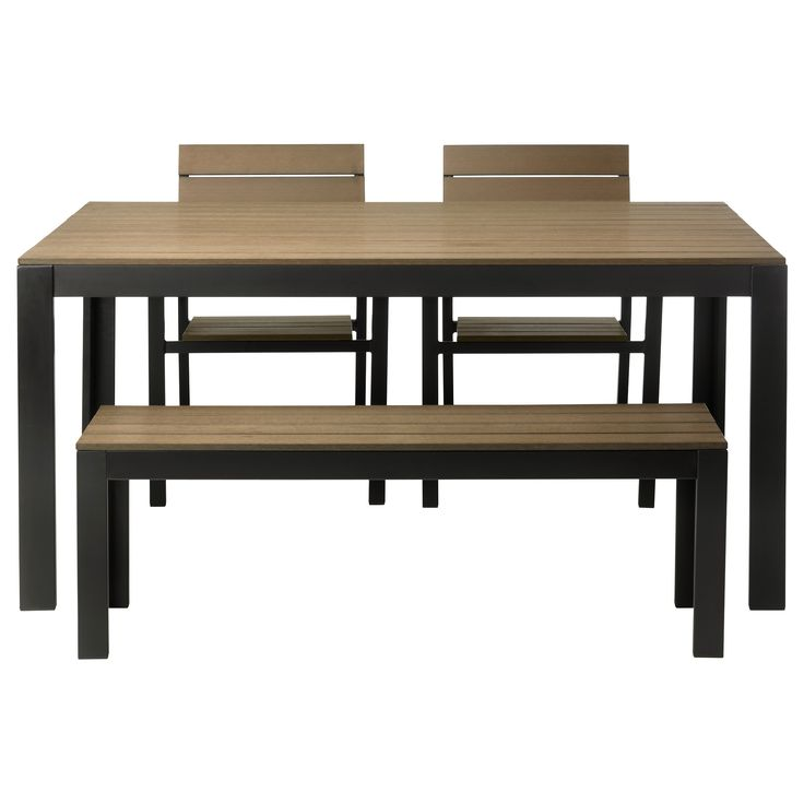FALSTER Table+2 chairs+ bench, outdoor - black/brown - IKEA