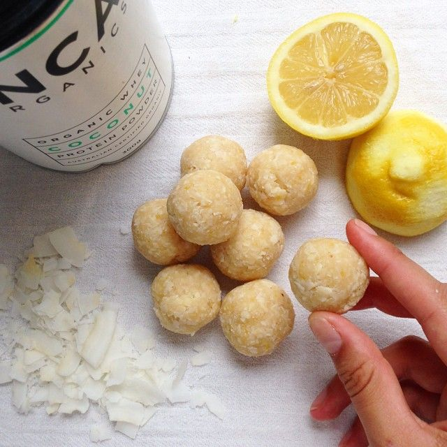 """Lemon and coconut balls!These little balls make a great afternoon pick-me-up snack - they'll totally satisfy your sweet tooth, while the protein…"""