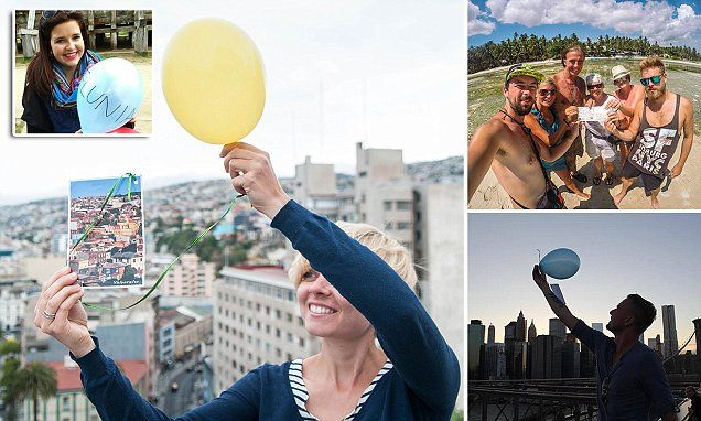 Woman sends postcards by balloon to her late dad from around the world