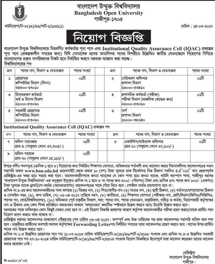 Bangladesh Open University (BOU) Job Circular 2019 Job