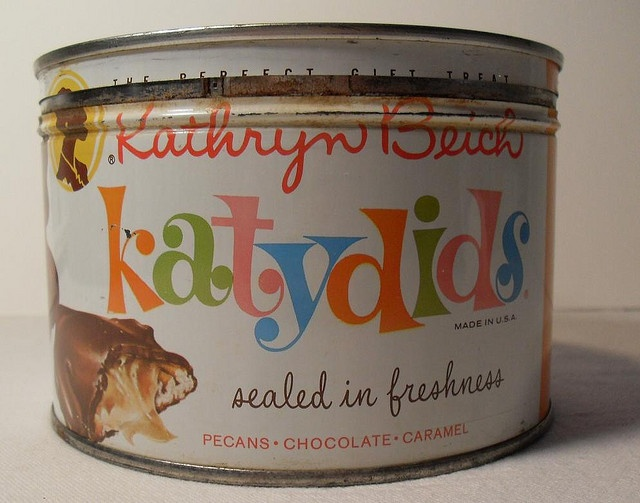 Vintage KATYDIDS 1960s Candy Tin Can by Christian Montone, via Flickr.  My 2nd favorite candy.  I could eat a whole tin by myself.