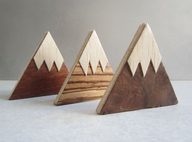 Magnet Mountains. Handmade set of 3 fridge magnets. Wood. Mountain design. £3.90