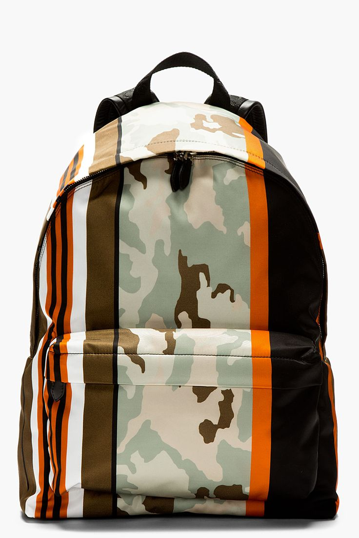 GIVENCHY Mint & orange printed CAMO BACKPACK | Menswear | Men's Fashion | Moda Masculina | Shop at designerclothingfans.com