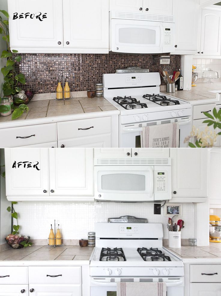 How To Paint A Tile Backsplash Update Kitchen Backsplash