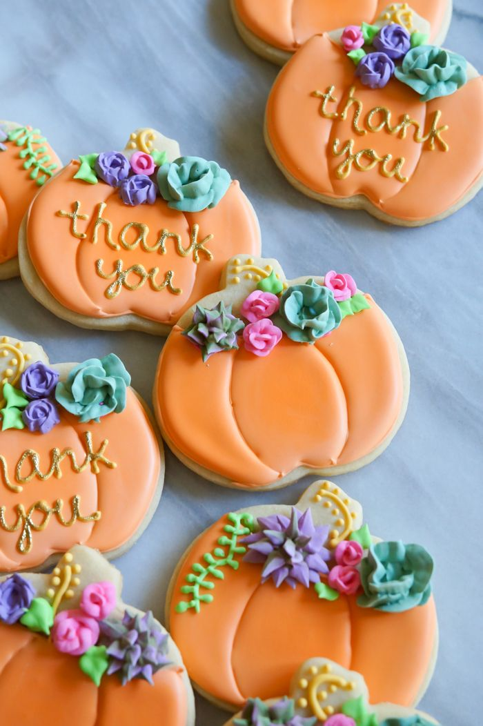 how to make decorated pumpkin cookies with royal icing succulents and roses ~ Bake at 350