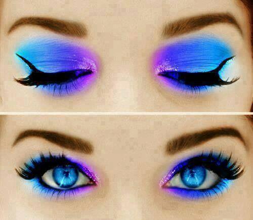 Pretty Eye Shadow makeup pink blue purple black glitter gorgeous fashion
