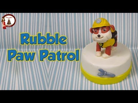 """Rubble from """"Paw Patrol"""" out of fondant cake topper- Rubble in pasta di zucchero - YouTube"""