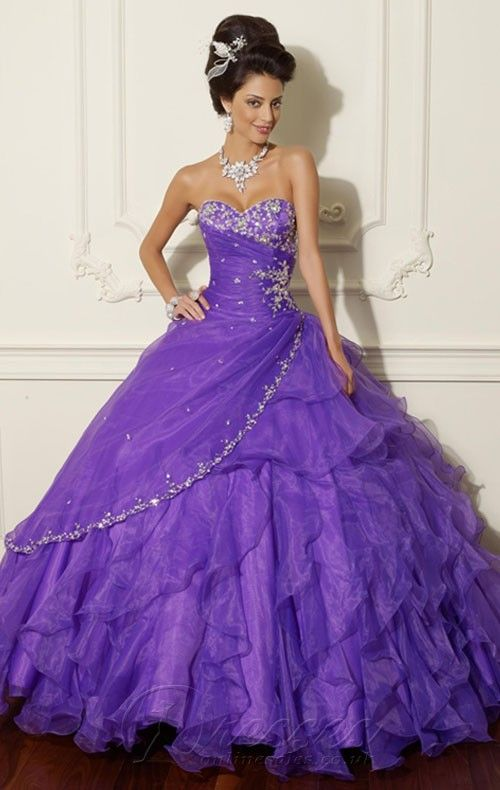 Beautiful Purple Ball Gown Floor-length Organza Sweetheart Dress