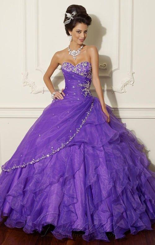 Beautiful Purple Ball Gown Floor-length Organza Sweetheart Dress