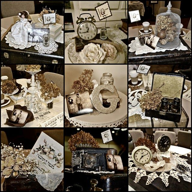vintage table setting   Each table setting was different with gathered vintage treasures}