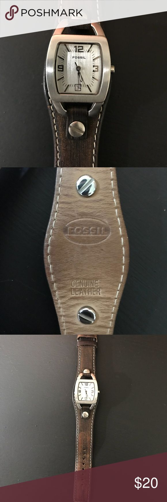 Fossil Leather Banded Watch Leather banded Fossil Watch in good condition. Needs battery replacement. Comfortable design. Fossil Jewelry