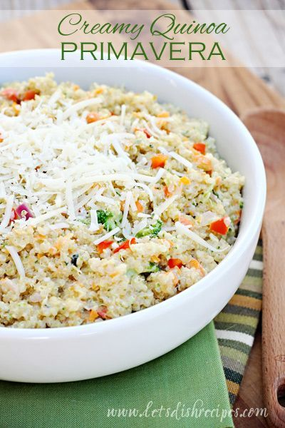 This Creamy Quinoa Primavera is loaded with fresh vegetables. It's a great side or healthy, light lunch.