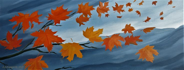 "Autumn Breeze, oils on canvas, measures 12"" x 30"". Created in 2017."