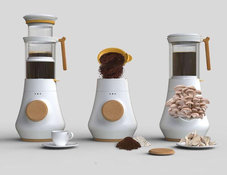 Maquina de café que aprovecha los restos para hacer crecer setas - Ecocosas