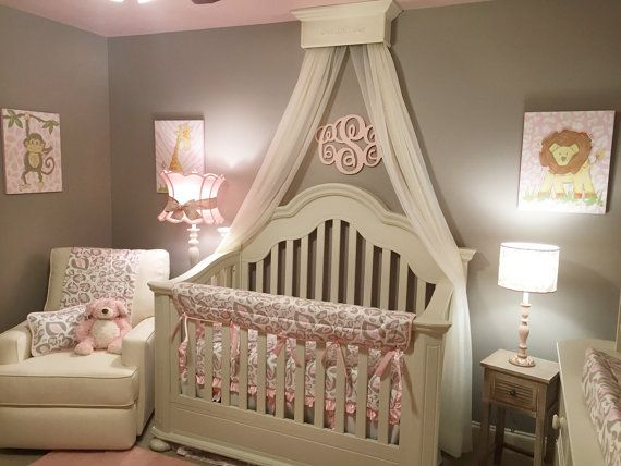 Bed Crown Canopy, Princess Crown, Crib Crown, Cornice, All wood Material, Hardware included.  Crown easily slips over Safety Metal wall bracket and is completely secure. Crown has a sturdy drapery rod attached for easy hanging of drapes, sheers, or any fabric you desire. Installation instructions all hardware will be provided for you.  Our Bed / Crib Crowns are made of the highest quality wood, finishes and hardware. We take pride in our products, giving you, what we would expect. MEASURES…