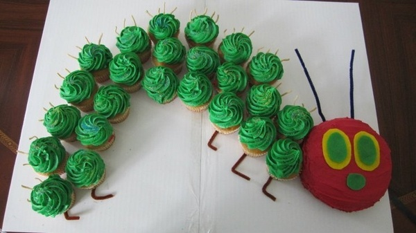 book shower... I don't want a cake. Love this very hungry caterpiller cupcake idea.