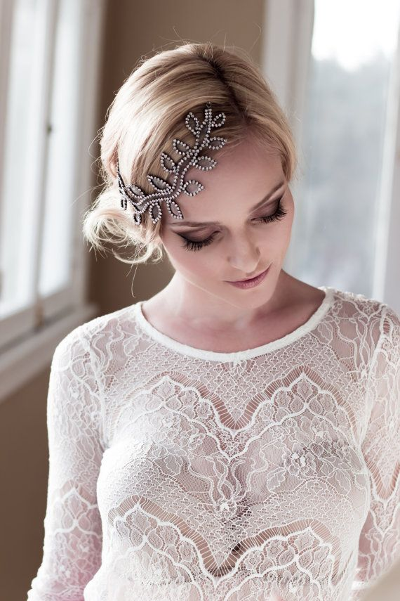SALE Whimsical Bridal Headpiece with Rhinestone por veiledbeauty, $139.00