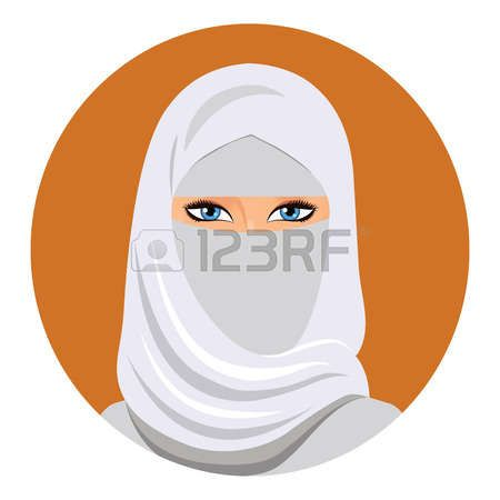 Лицо арабской мусульманской женщины, векторные иллюстрации. Портрет красивой женщины арабского в белом хиджабе.