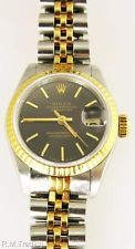 Señoras Rolex 69173 Oyster Perpetual Datejust Oro 18k Acero Inoxidable Negro Dial Watch