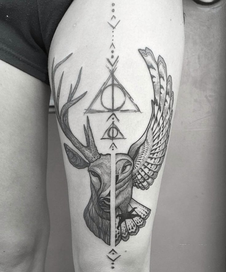 Harry Potter leg tattoo