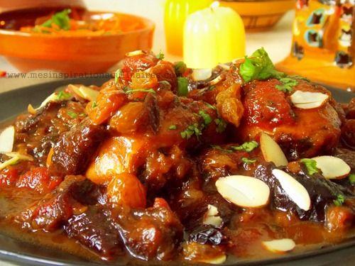 Tajine de poulet aux abricots, raisins secs aux amandes. . La recette par Mes inspirations culinaires.